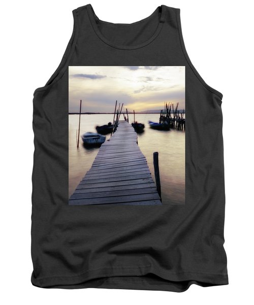 Dock At Sunset Tank Top by Marion McCristall