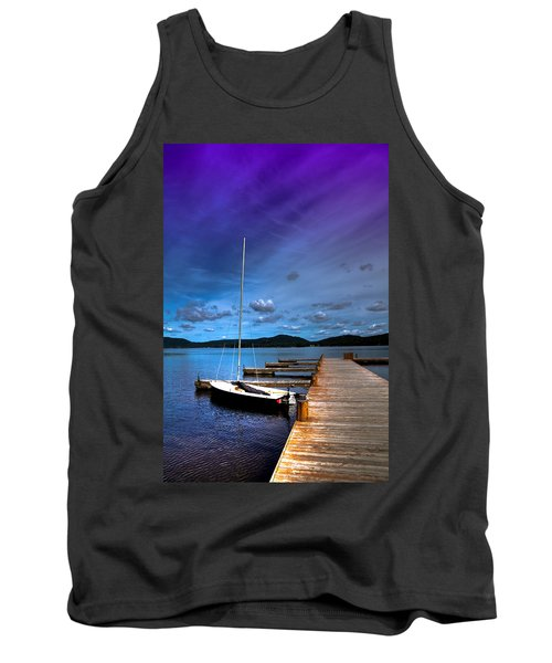 Docked On Fourth Lake Tank Top by David Patterson