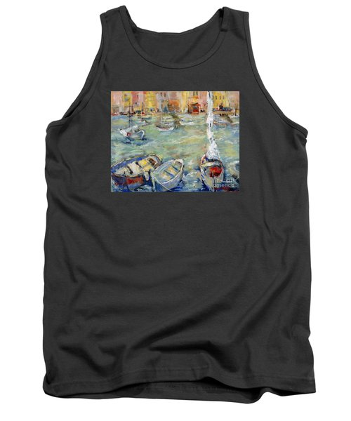 Docking In Cassis Tank Top by Sharon Furner