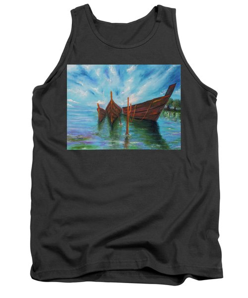 Tank Top featuring the painting Docking by Itzhak Richter