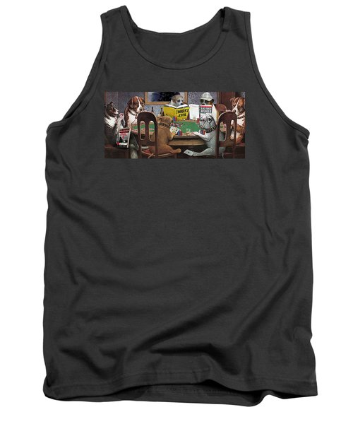 Dogs Playing Poker And Reading Steve Hodel Tank Top