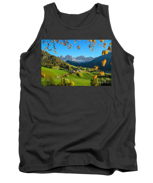 Dolomites Mountain Village In Autumn In Italy Tank Top by IPics Photography