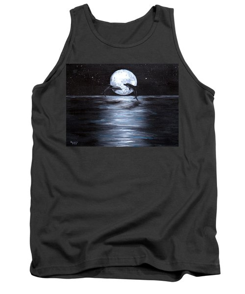 Dolphins Dancing Full Moon Tank Top by Bernadette Krupa
