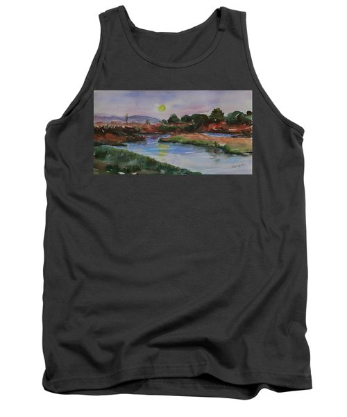 Tank Top featuring the painting Don Edwards San Francisco Bay National Wildlife Refuge Landscape 1 by Xueling Zou