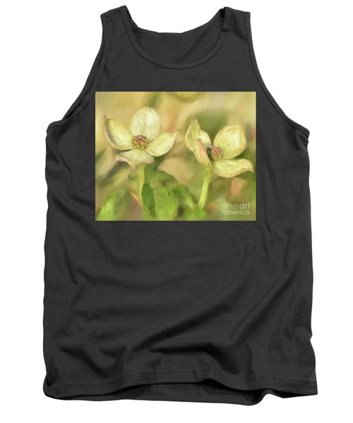 Tank Top featuring the digital art Double Dogwood Blossoms In Evening Light by Lois Bryan
