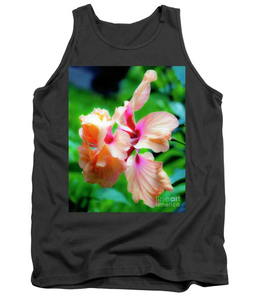 Double Peach Hibiscus Two Tank Top