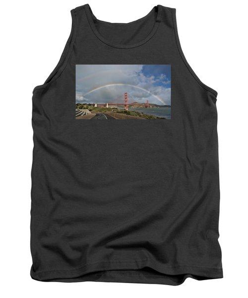 Tank Top featuring the photograph Double Rainbow Golden Gate Bridge by Steve Siri