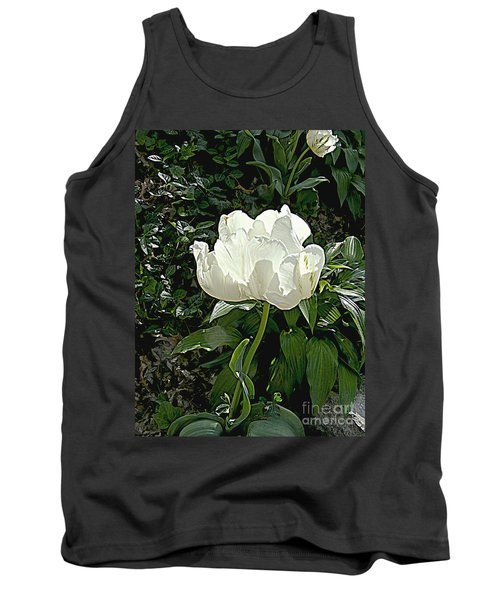 Tank Top featuring the photograph Double Tulip In White by Nancy Kane Chapman