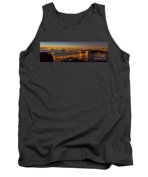 Downtown San Francisco And Golden Gate Bridge Just Before Sunris Tank Top