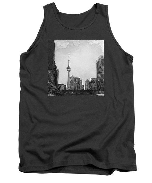 Downtown Toronto In Bw Tank Top