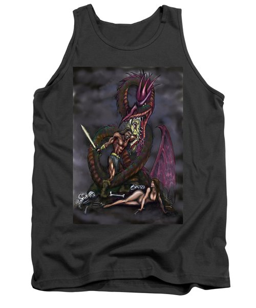 Tank Top featuring the painting Dragonslayer by Kevin Middleton