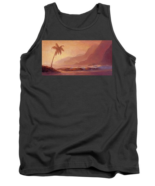 Tank Top featuring the painting Dreams Of Hawaii - Tropical Beach Sunset Paradise Landscape Painting by Karen Whitworth