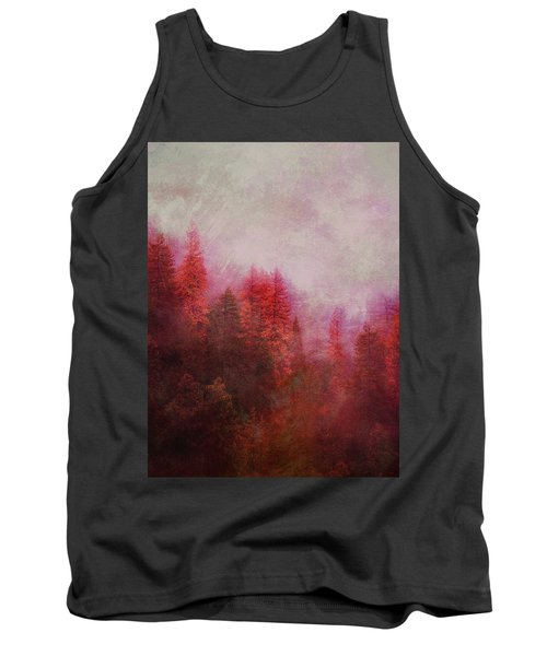 Tank Top featuring the digital art Dreamy Autumn Forest by Klara Acel