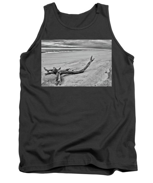 Tank Top featuring the photograph Driftwood On The Beach In Black And White by Paul Ward