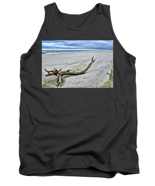 Driftwood On The Beach Tank Top by Paul Ward