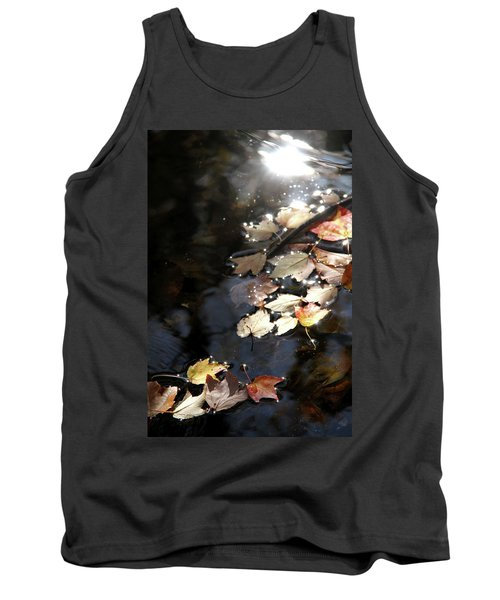 Dry Leaves Floating On The Surface Of A Stream Tank Top by Emanuel Tanjala