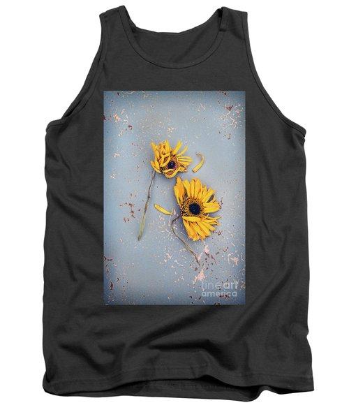 Dry Sunflowers On Blue Tank Top by Jill Battaglia