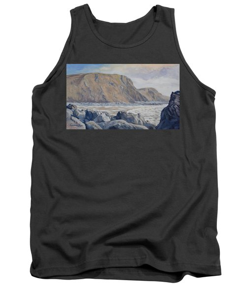 Tank Top featuring the painting Duckpool Boulders by Lawrence Dyer