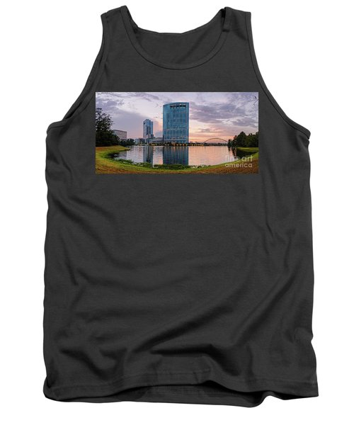 Dusk Panorama Of The Woodlands Waterway And Anadarko Petroleum Towers - The Woodlands Texas Tank Top