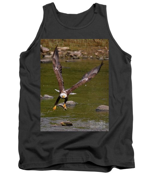 Tank Top featuring the photograph Eagle Fying With Fish by Debbie Stahre
