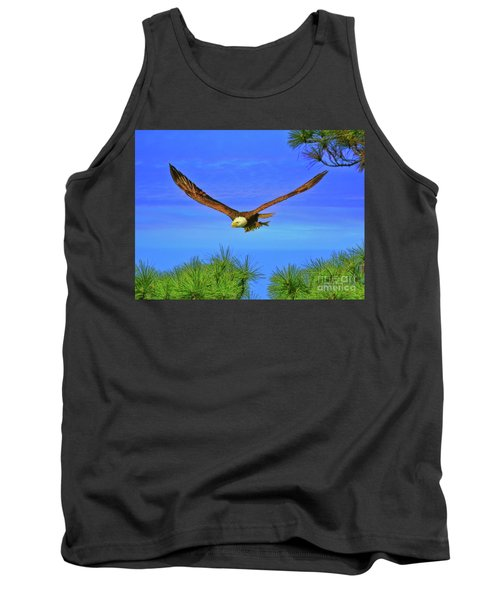 Tank Top featuring the photograph Eagle Series Through The Trees by Deborah Benoit