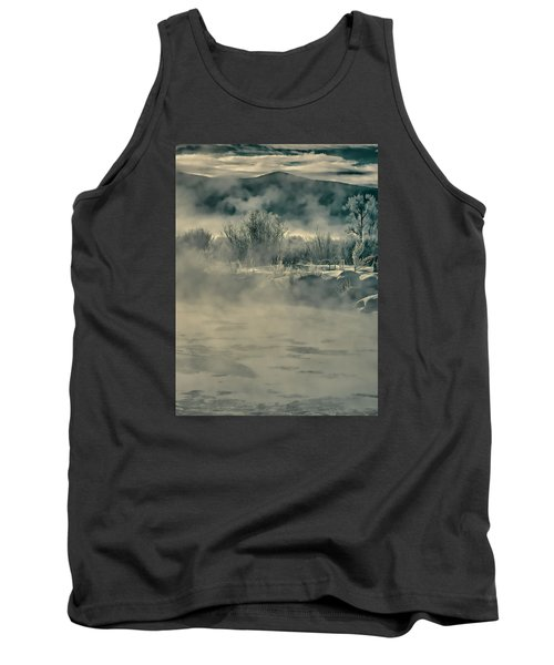 Tank Top featuring the photograph Early Morning Frost On The River by Don Schwartz