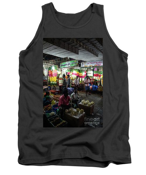 Tank Top featuring the photograph Early Morning Koyambedu Flower Market India by Mike Reid