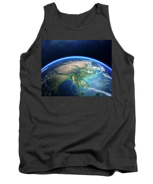 Earth From Space Asia View Tank Top