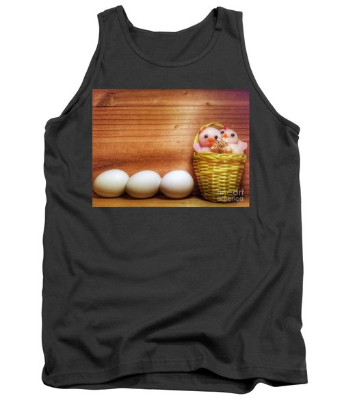Easter Basket Of Pink Chicks With Eggs Tank Top