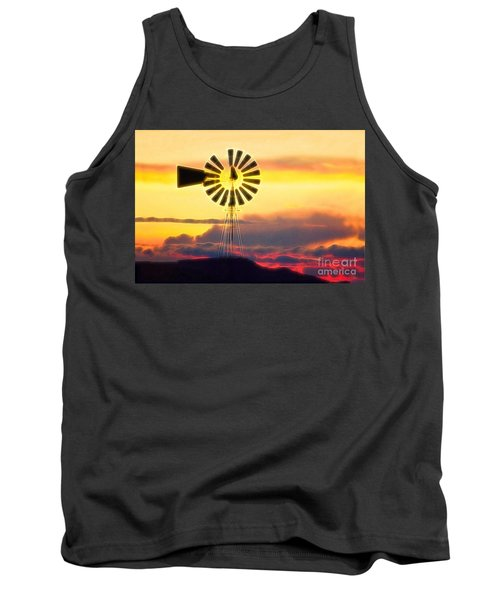 Eclipse Windmill In The Sunset Clouds Tank Top