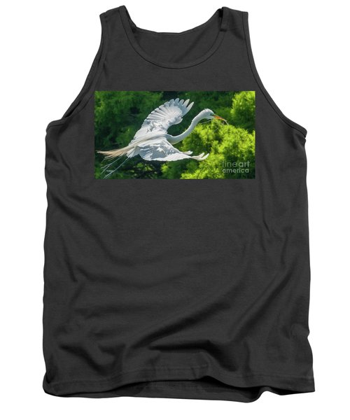 Egret Flying With Twigs Tank Top