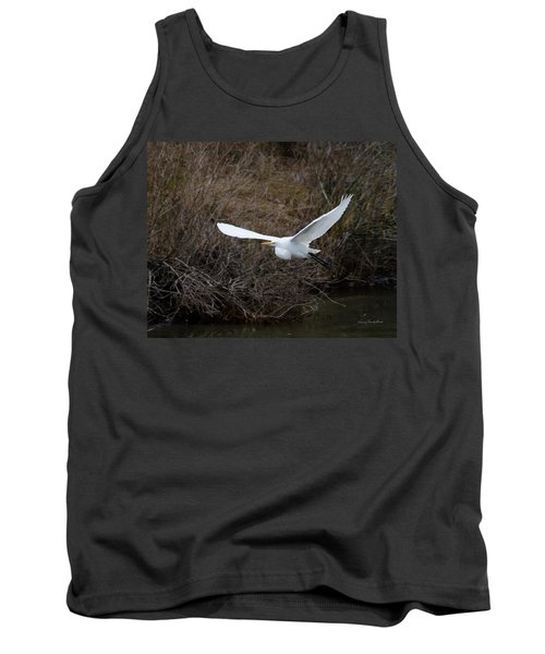Tank Top featuring the photograph Egret In Flight by George Randy Bass