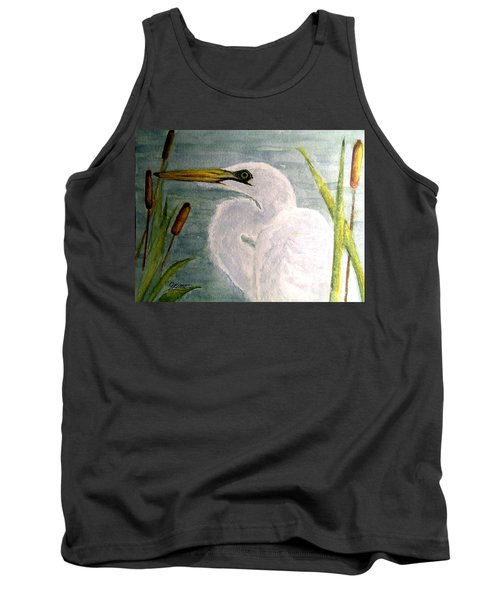 Egret In The Cattails Tank Top
