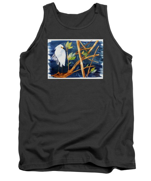 Tank Top featuring the painting Egret In The Mangroves  by Terri Mills