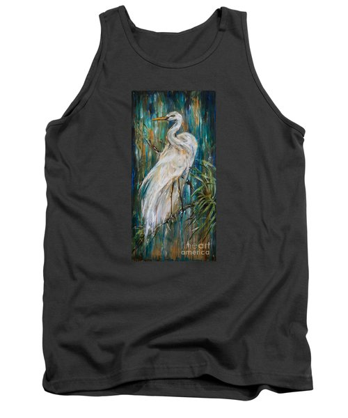 Egret Near Waterfall Tank Top