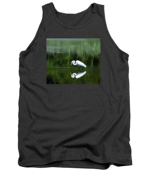 Egret Reflection Tank Top by Kathy Eickenberg