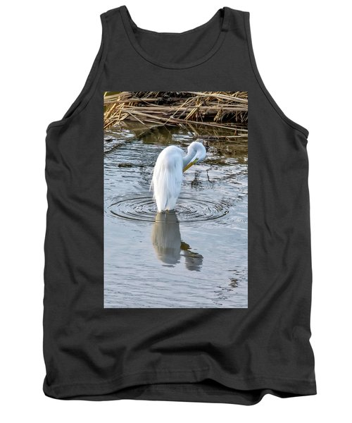 Egret Standing In A Stream Preening Tank Top