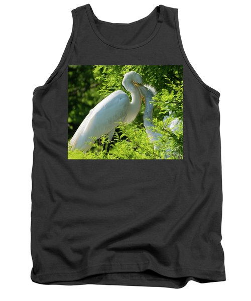 Egrets At Feeding Time Tank Top