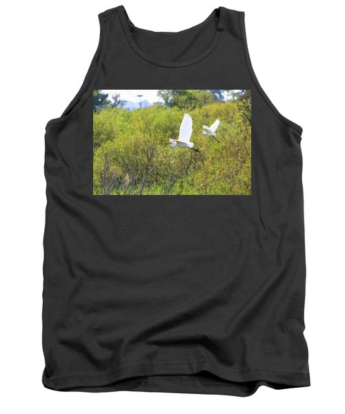 Tank Top featuring the photograph Egrets In Flight by Jennifer Casey