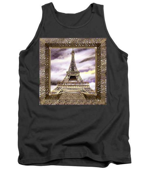 Tank Top featuring the painting Eiffel Tower Laces Iv  by Irina Sztukowski