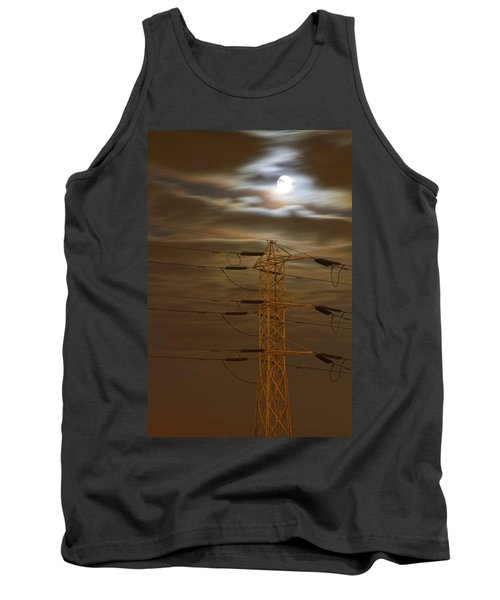 Electric Tower Under Supermoon Tank Top
