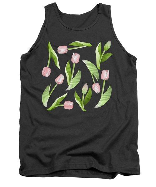 Elegant Chic Pink Tulip Floral Patten Tank Top