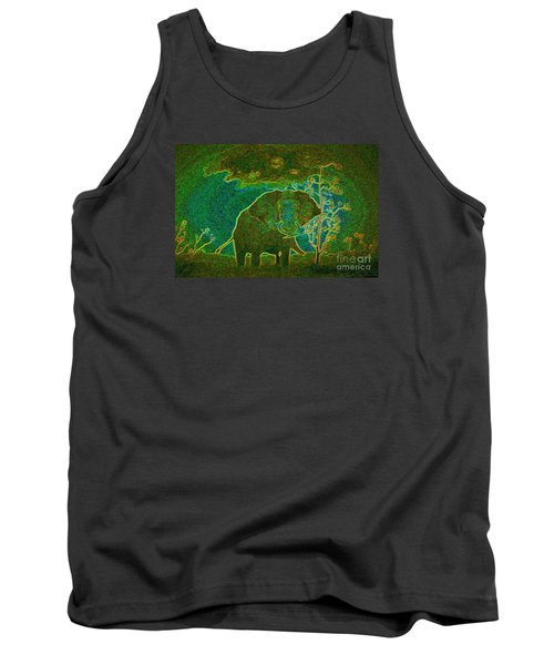 Tank Top featuring the painting Elephant Abstract by John Stuart Webbstock