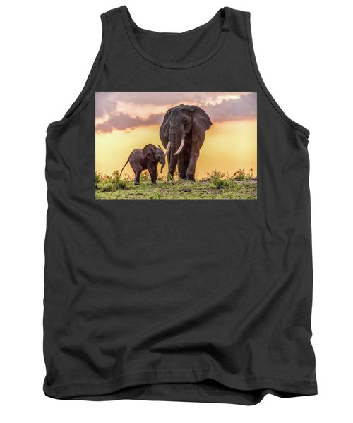 Elephants At Sunset Tank Top by Janis Knight