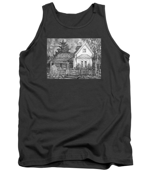 Tank Top featuring the painting Elma's House In Bw by Gretchen Allen