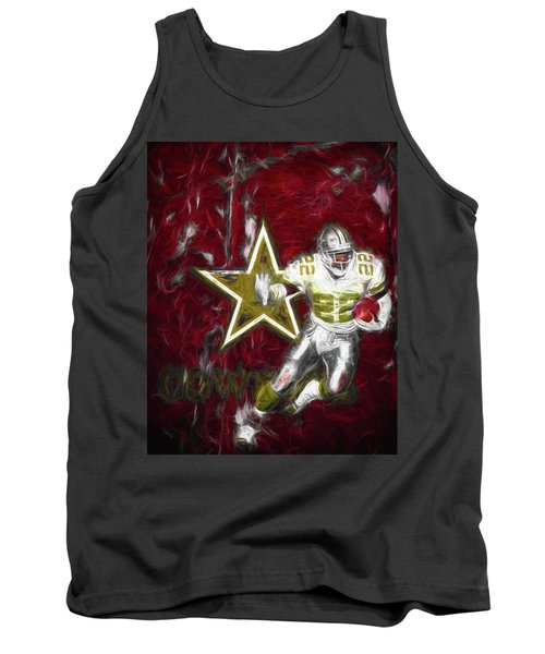 Tank Top featuring the photograph Emmitt Smith Nfl Dallas Cowboys Gold Digital Painting 22 by David Haskett