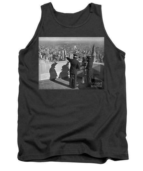 Tank Top featuring the photograph Empire State Lookout 1947 by Martin Konopacki Restoration