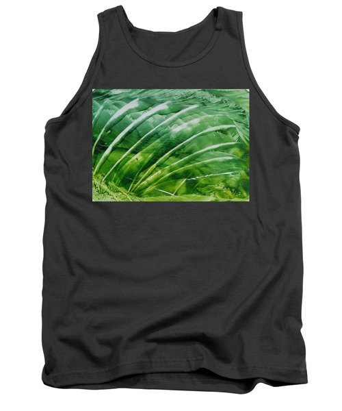 Encaustic Abstract Green Fan Foliage Tank Top