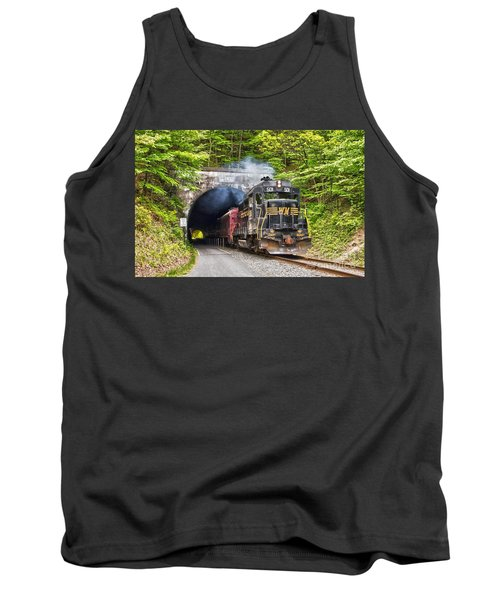 Engine 501 Coming Through The Brush Tunnel Tank Top by Jeannette Hunt