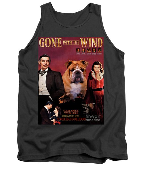 English Bulldog Art Canvas Print - Gone To The Wind Movie Poster Tank Top